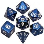 Metallic Dice Game Set 7D Poly Metallic Blue/White