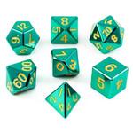 Metallic Dice Game Set 7D Poly Metallic Turquoise/Yellow
