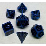 Metallic Dice Game Set 7D Poly Metallic Blue/Black enamel