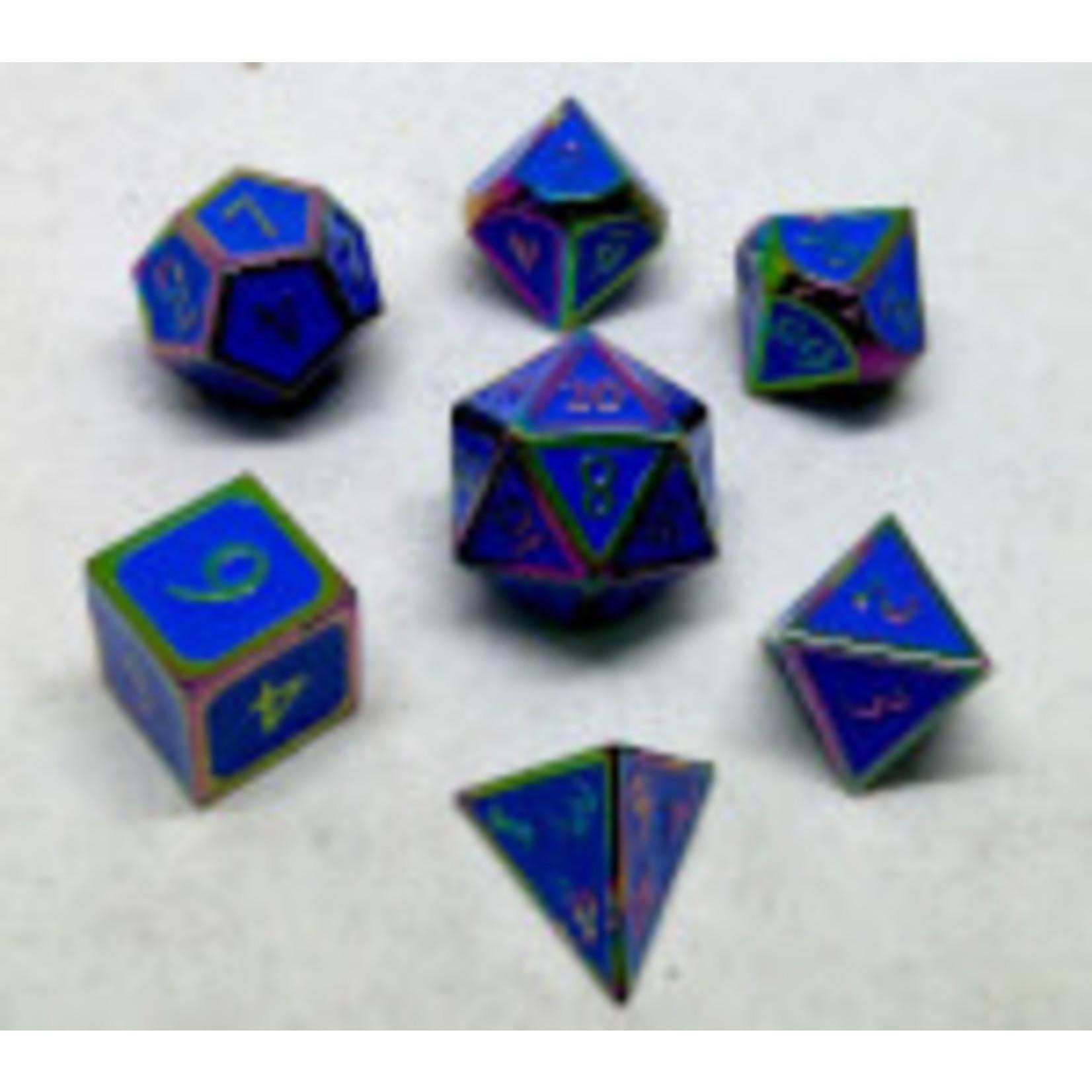 Metallic Dice Game Set 7D Metallic Rainbow/Blue Enamel