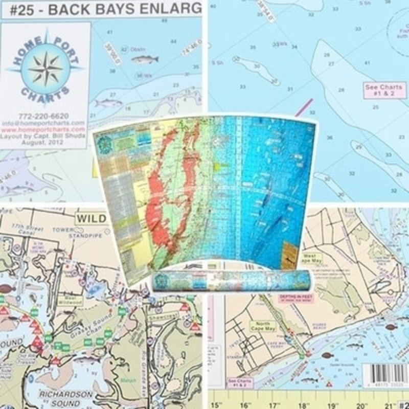 Home Port Charts Home Port Chart #25 Back Bays Enlargement Townsends Inlet to Cape May Inlet