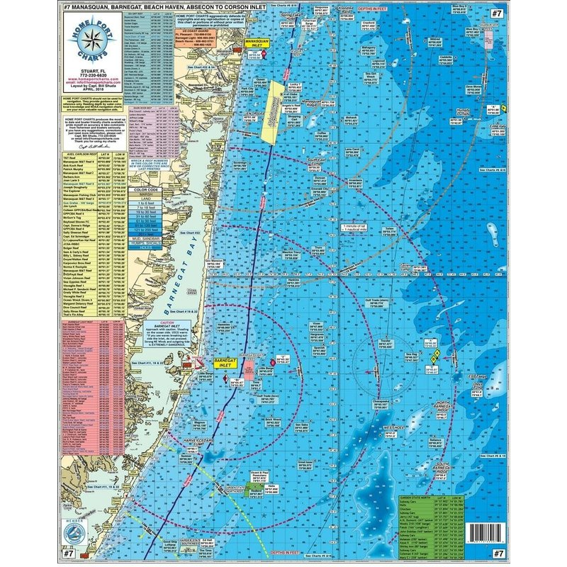 Home Port Charts Home Port Chart #7 Wreck/Reef Manasquan to Corson's Inlet