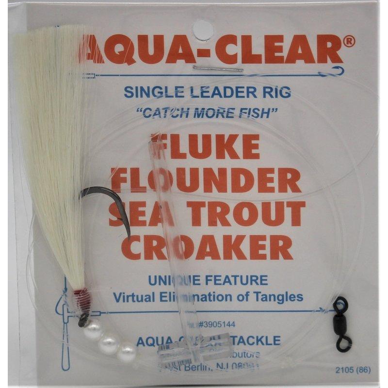 Aqua-Clear Tackle Aqua-Clear FW-44BNWP Fluke/Weakfish 4/0 Single Black Nickel Octopus Hook w/White FisHair Rig