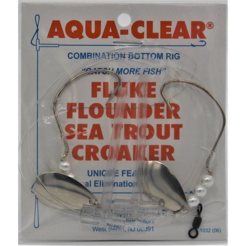Aqua-Clear Tackle Aqua-Clear FW-24PS Hi/Lo Fluke/Weakfish 4/0 Nickel Wide Gap Hooks w/Pearls and Spinners Rig