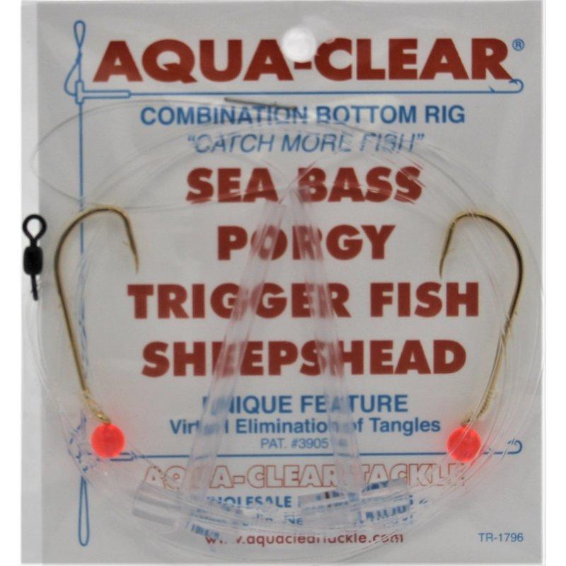 Aqua-Clear Tackle Aqua-Clear SP-1B Hi-Lo Sea Bass/Porgy Rig - 1/0 Gold Beak Hooks w/Red Beads