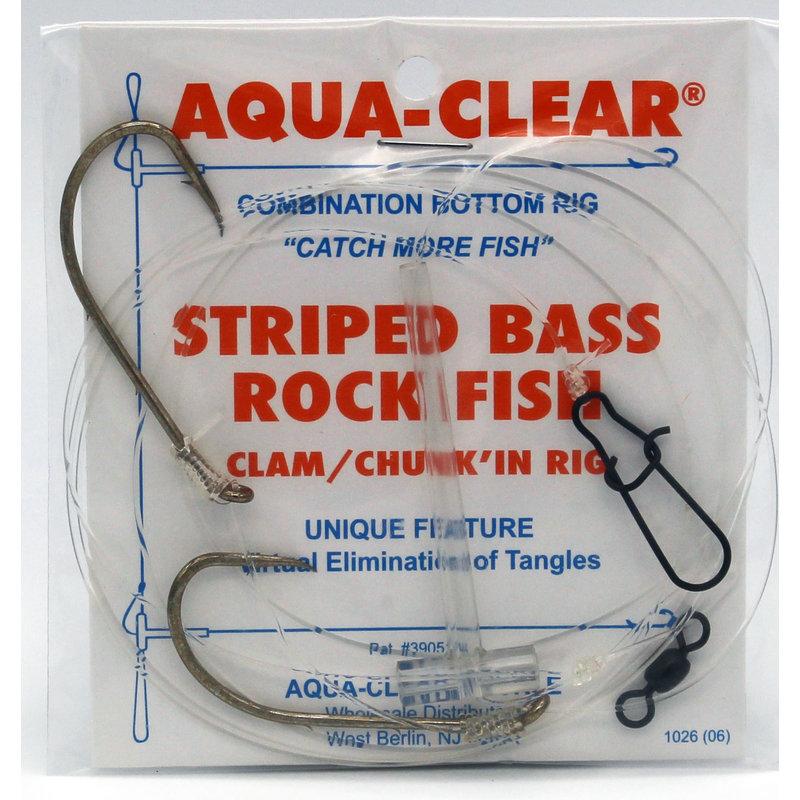 "Aqua-Clear Tackle Aqua-Clear ST-6 Striped Bass 6/0 Bronze Baitholder Hooks 36"" Leader Tandem Rig"
