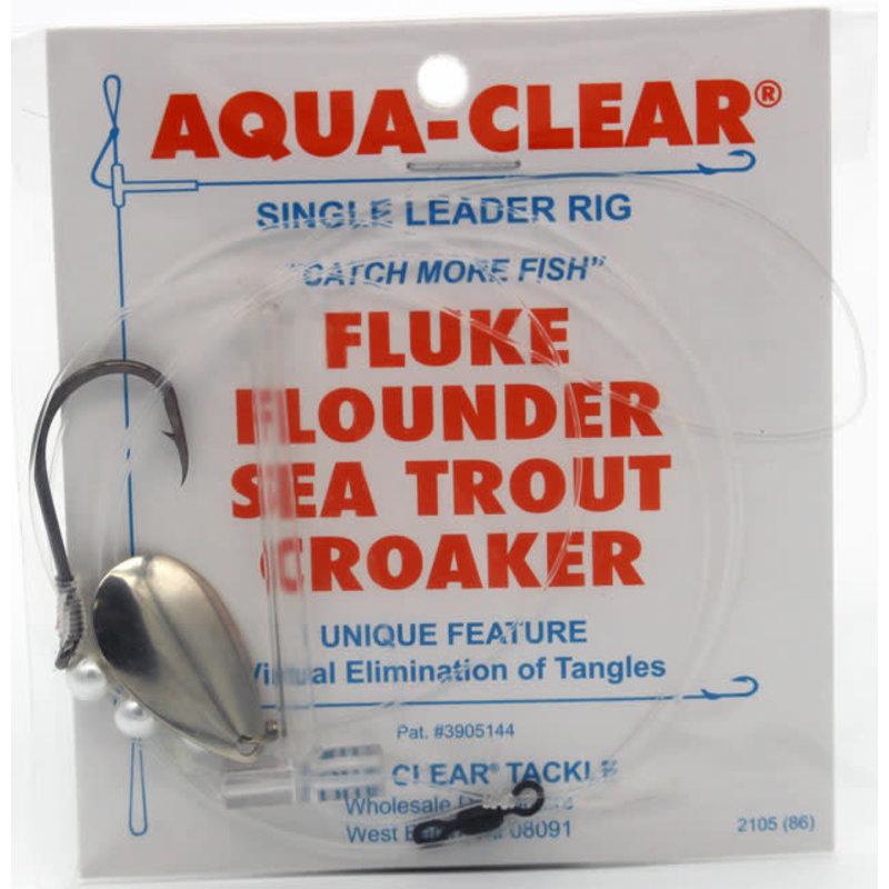 Aqua-Clear Tackle Aqua-Clear FW-44BNPS Fluke/Weakfish 4/0 Single Black Nickel Octopus Hook w/Pearls and Spinner Rig