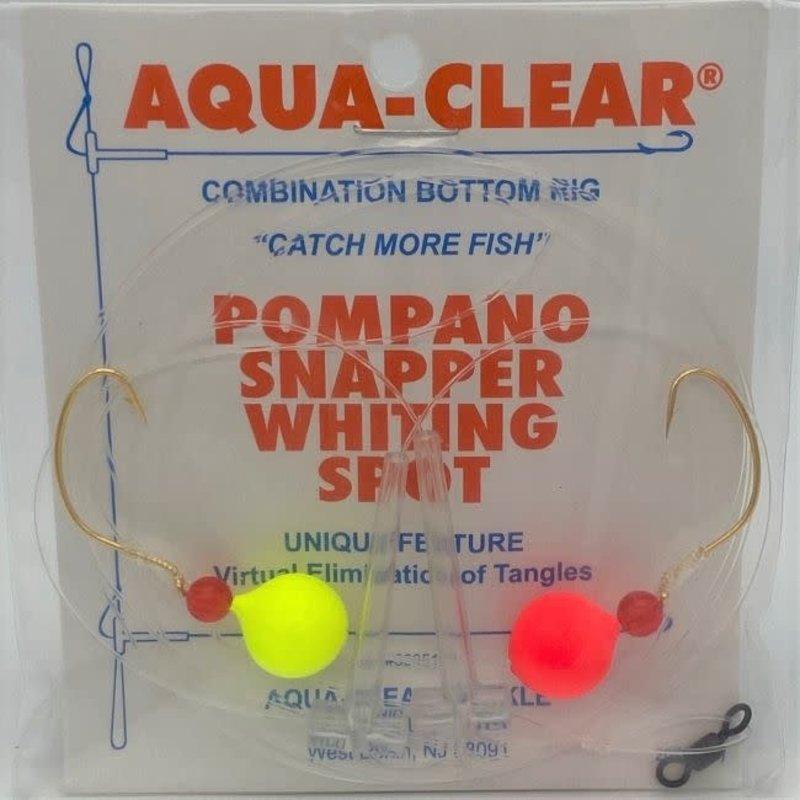 Aqua-Clear Tackle Aqua-Clear PS-2 Pompano/Snapper Hi-Lo #4 Wide Gap Hooks w/Red & Chartreuse Floats Rig