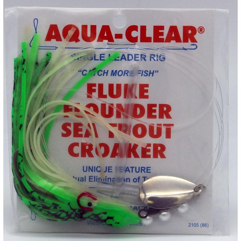 Aqua-Clear Tackle Aqua-Clear Fluke/Weakfish 3/0 Single Nickel Wide Gap Hook w/Squid Skirt & Spinner Rig