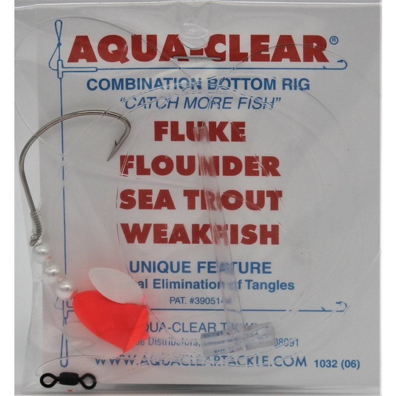 Aqua-Clear Tackle Aqua-Clear Fluke/Weakfish 3/0 Single Nickel Wide Gap Hook w/Spin-n-Glow Rig