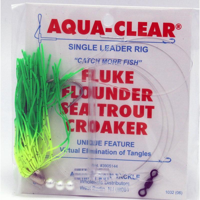 Aqua-Clear Tackle Aqua-Clear Fluke/Weakfish 3/0 Long Shank Hook w/Skirt Teaser Flasher Rigs