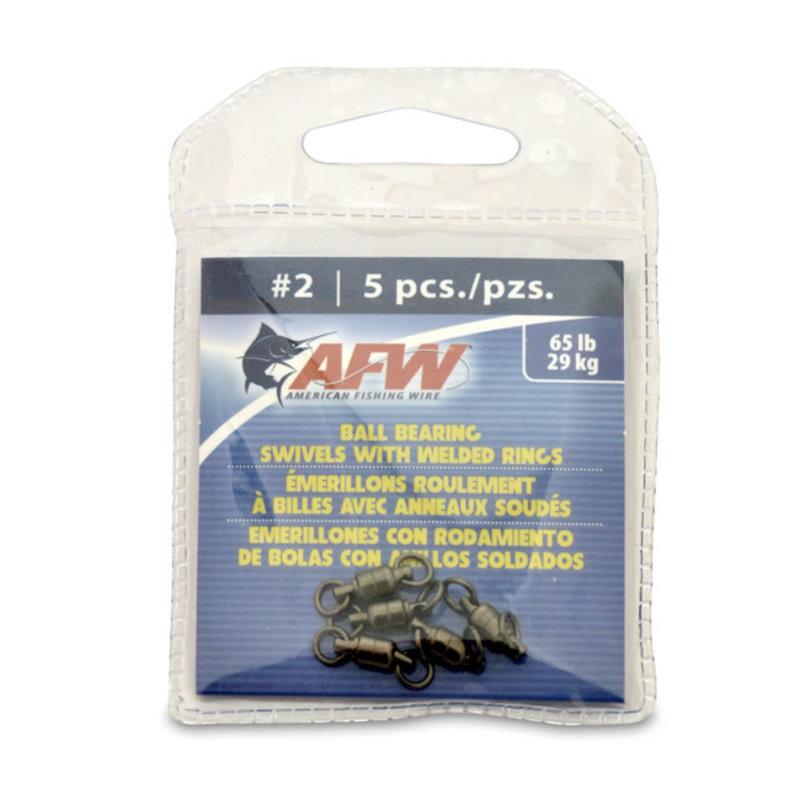 American Fishing Wire AFW Solid Brass Ball-Bearing Swivels w/Double Welded Rings - Gunmetal Black