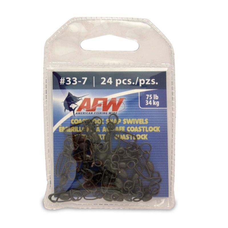American Fishing Wire AFW Brass Coastlock Snap Crane Swivels - Black