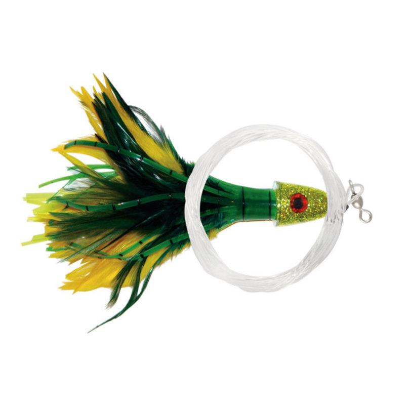 No Alibi Pro Trolling Feather Rigged & Ready, 7/0 Hook, Swivel & 100lb Mono Leader