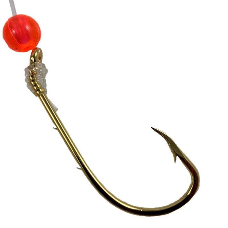 """Tide Rite Gold Baitholder w/Red Bead Porgy/Sea Bass 12"""" Snelled Hooks 6pc"""