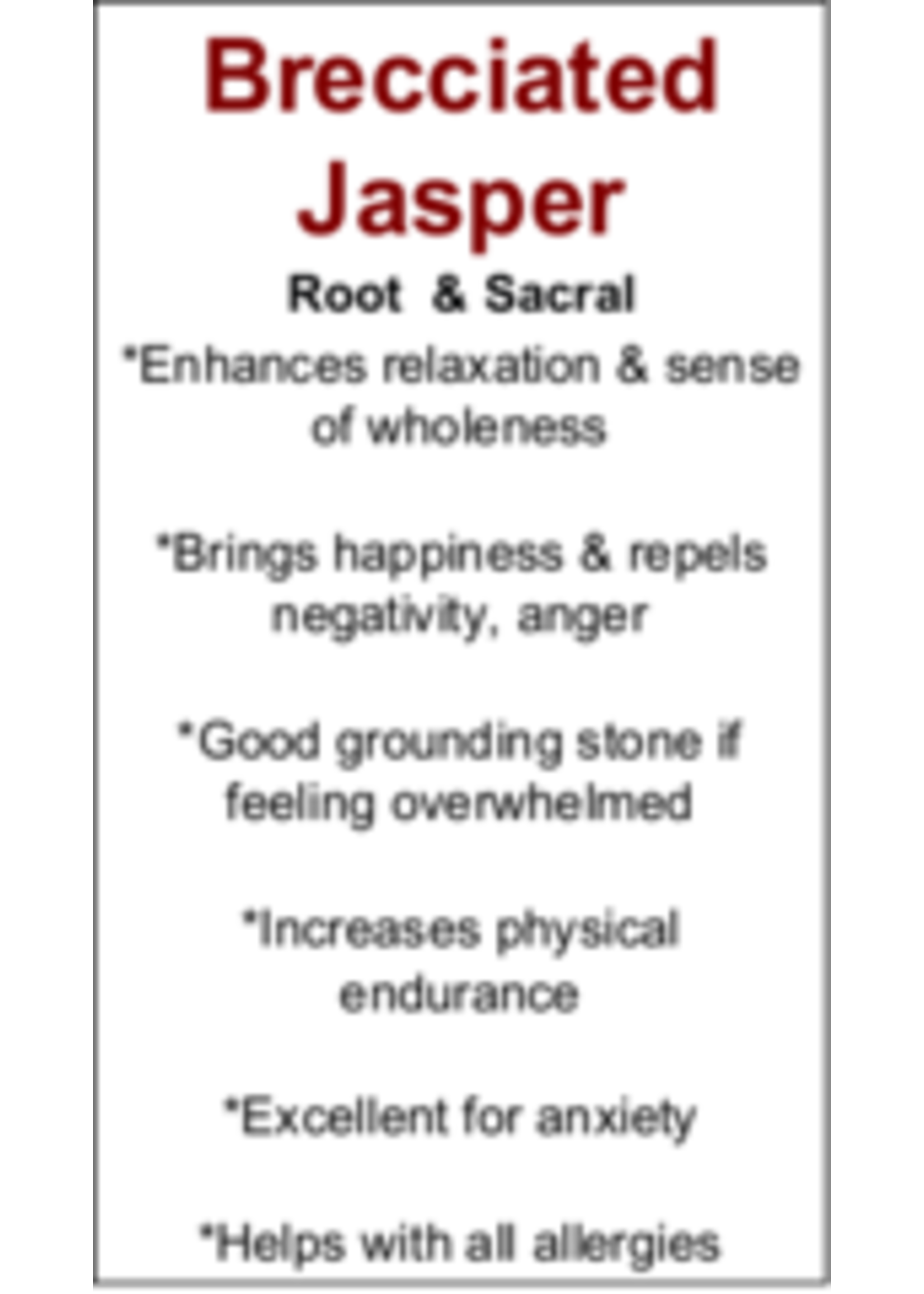 Brecciated Jasper Cards - Box of 250