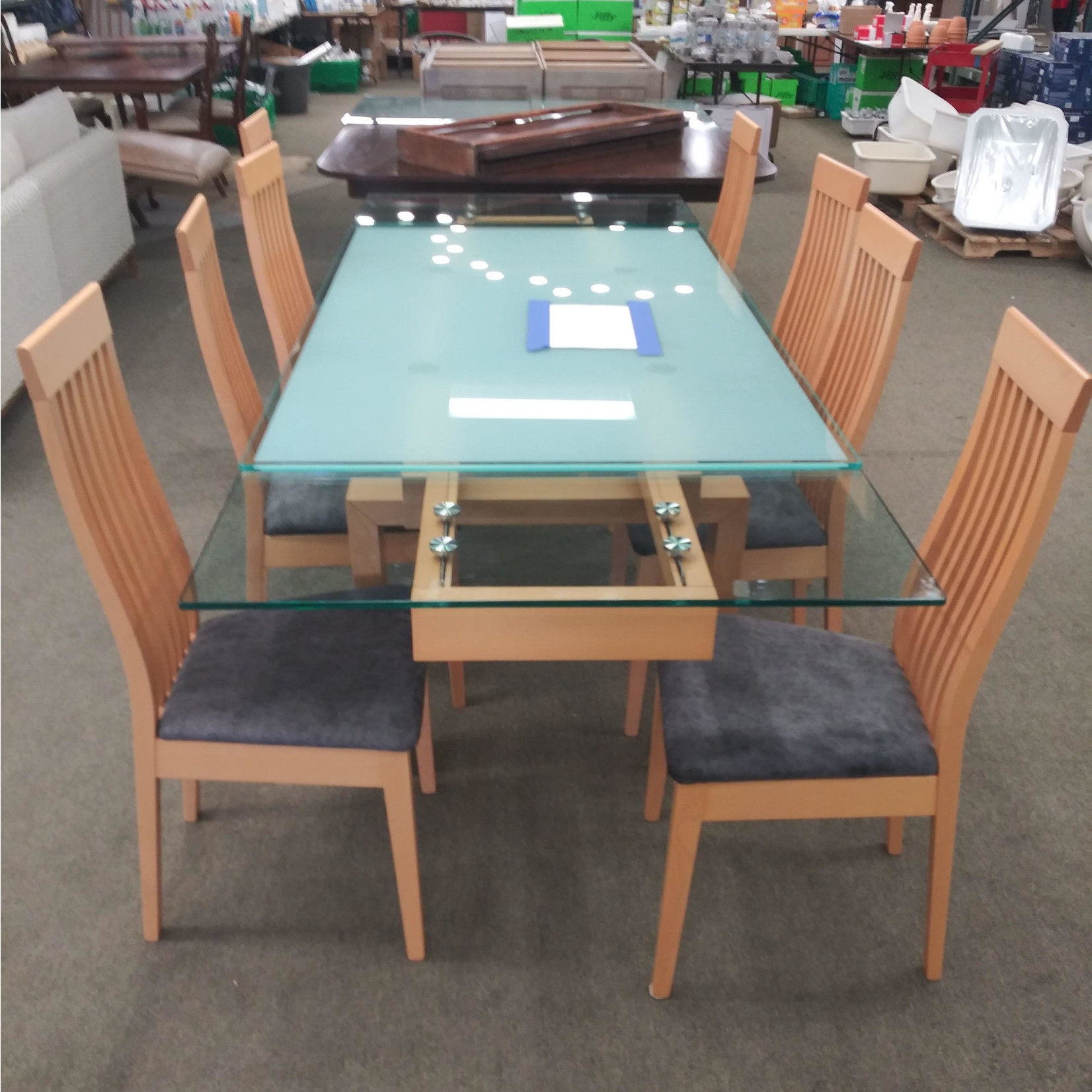 10057 Slightly Used 8-Chair Tempered Glass Dining Table Set