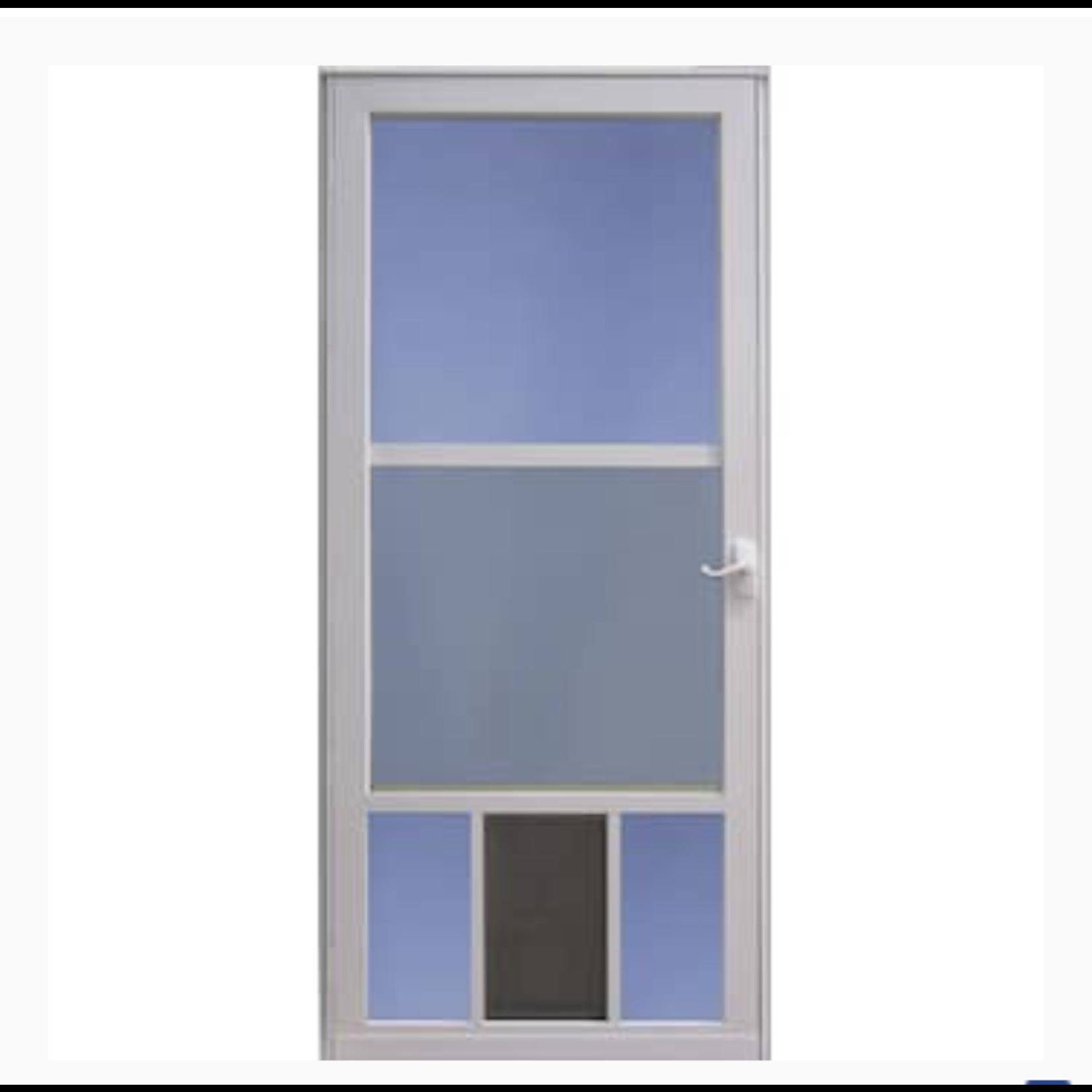 10209 3 Light White Storm Door W/ Pet Entrance
