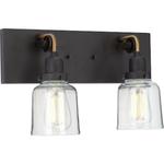 10254 Progress Lighting Rushton 2-Light Black Vanity Light