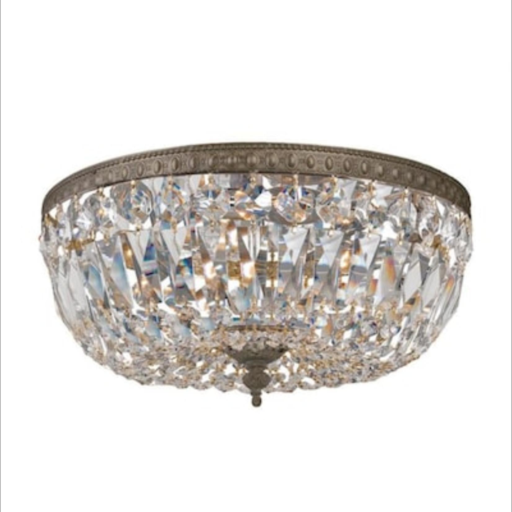 10324 Crystorama 3-Light Bronze Ceiling Mount Light