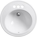10419 Kohler Brookline White Round Drop-in Bathroom Sink