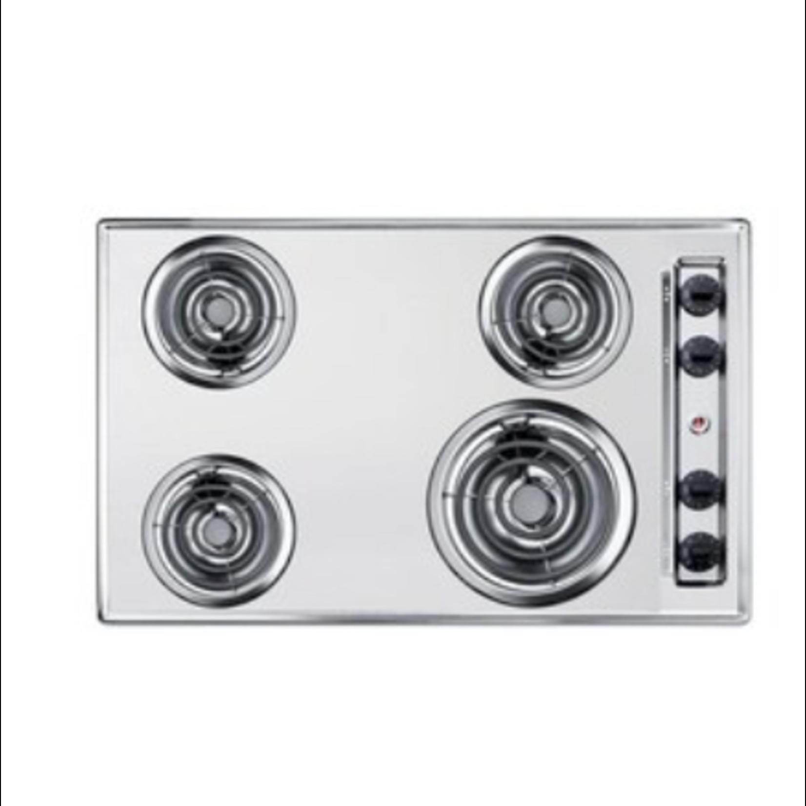 "10519 Summit Appliance 30"" Metallic Cooktop"