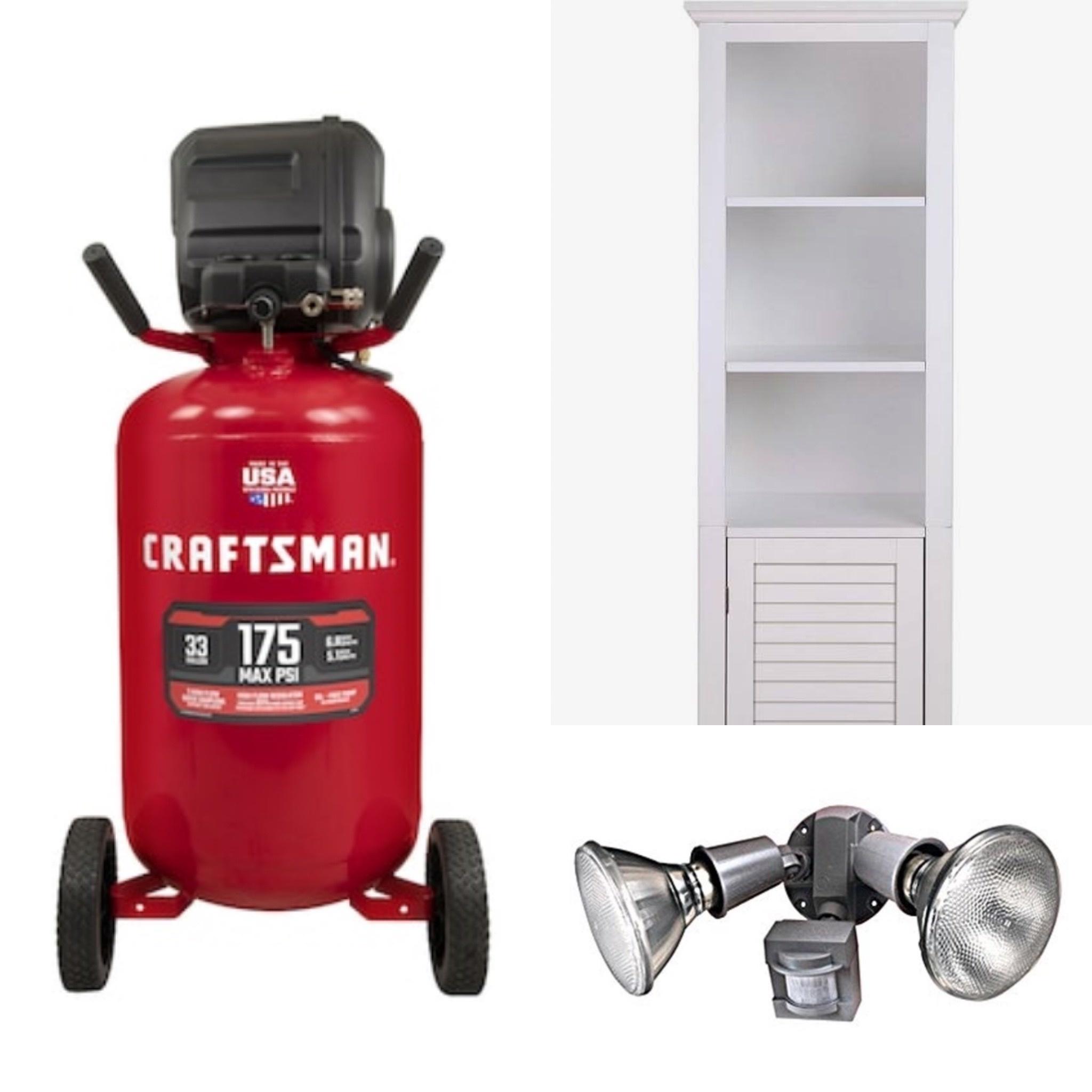Craftsman air compressor, bathroom storage cabinet, outdoor motion light, and more!