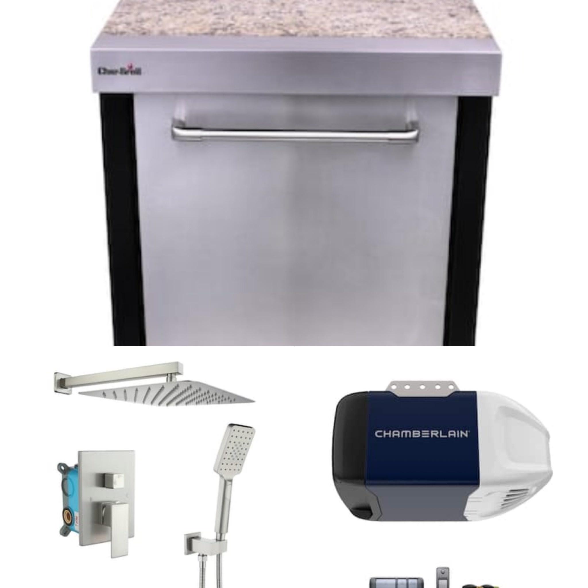 Outdoor refrigerator, shower bar system, Chamberlain garage door opener, and more!
