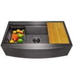10590 AKDY Single Bowl Black Workstation Sink