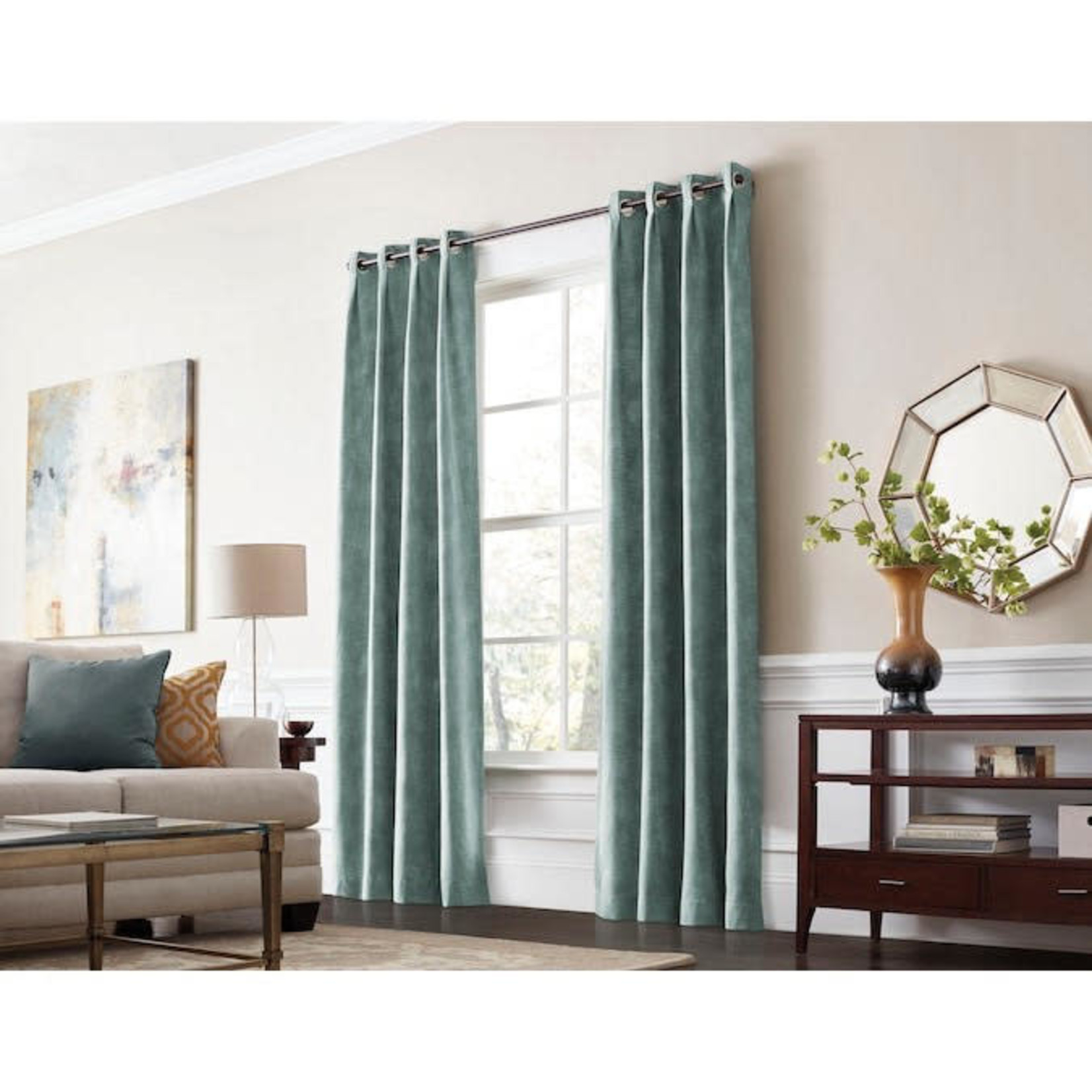 10601 Allen+Roth 84-in Mineral Polyester Room Darkening Thermal Lined Grommet Single Curtain Panel