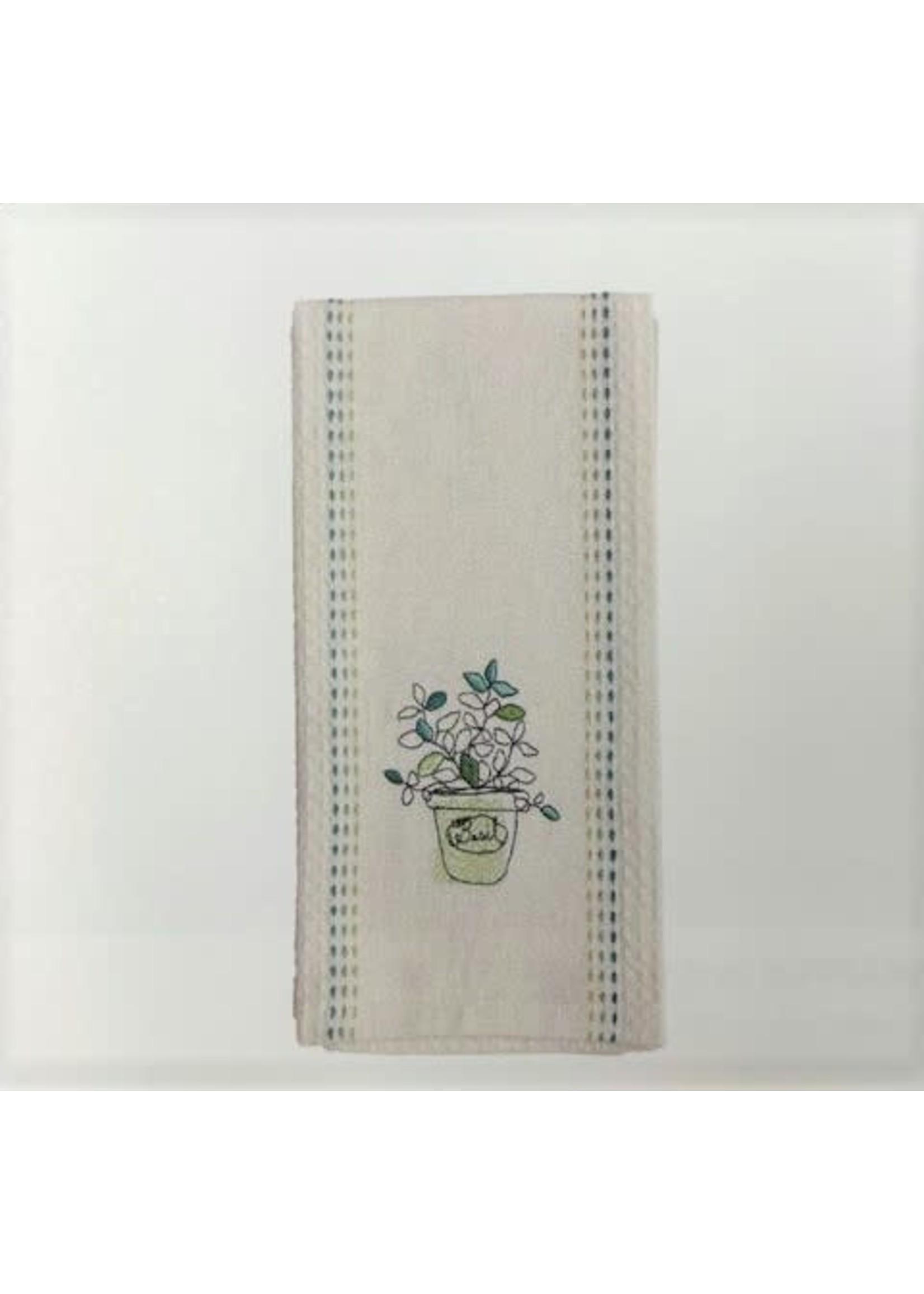 HERBS WAFFLE HAND TOWEL