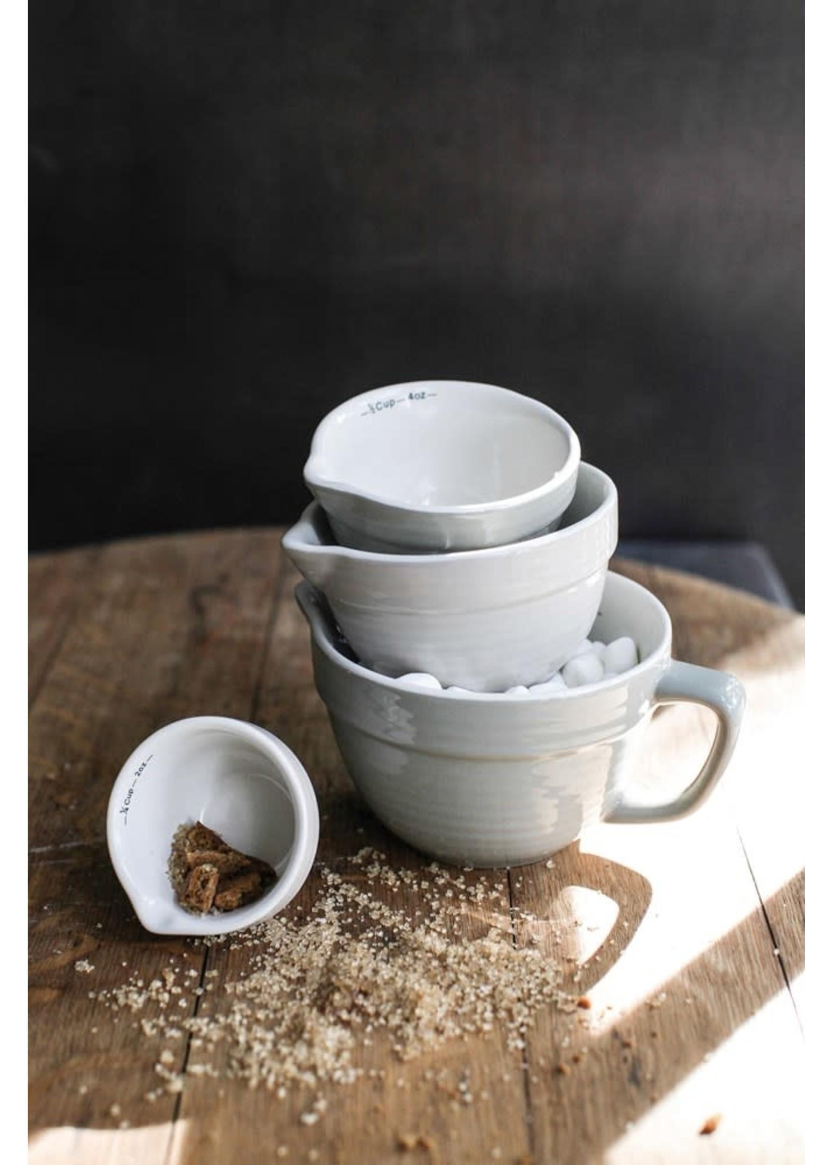 STONEWARE BATTER BOWL MEASURING CUPS, GRAY