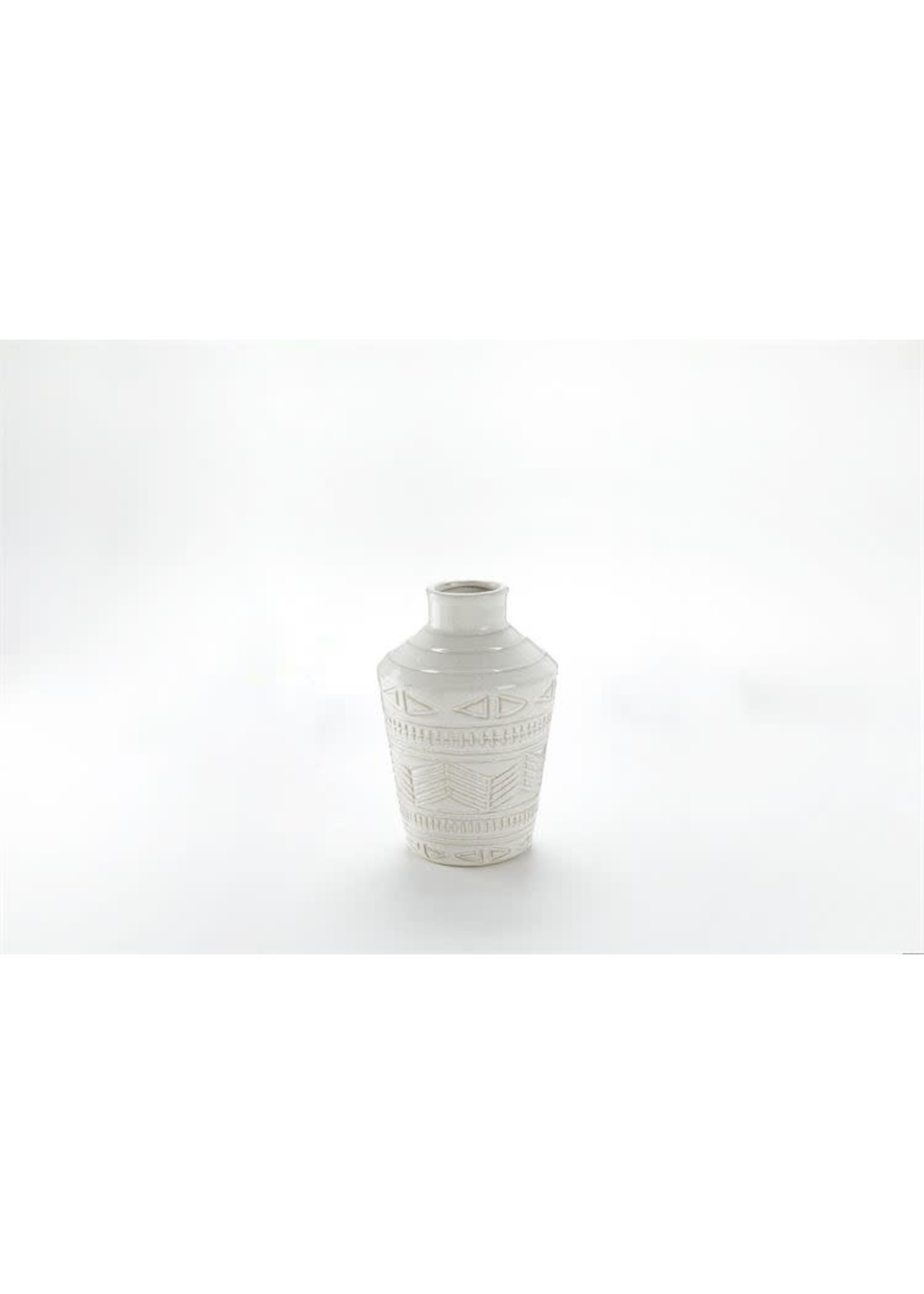 TAPERED WHITE RELIEF VASE