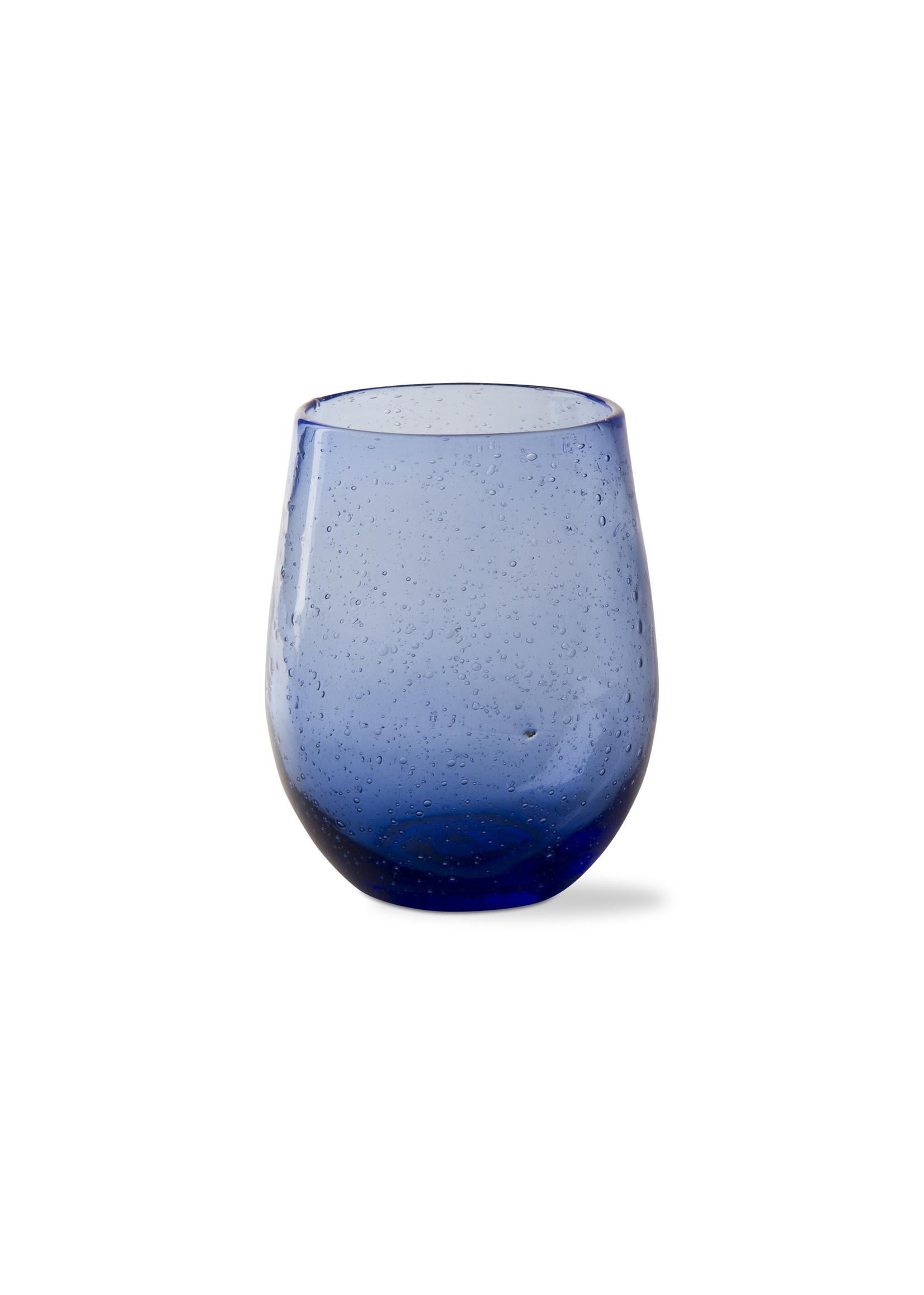 NAVY BUBBLE GLASS STEMLESS WINE GLASS