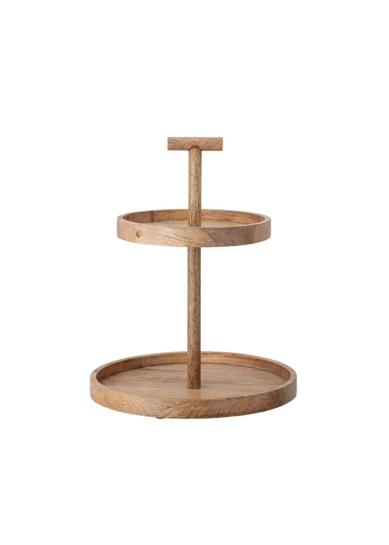 MANGO WOOD TWO TIERED TRAY