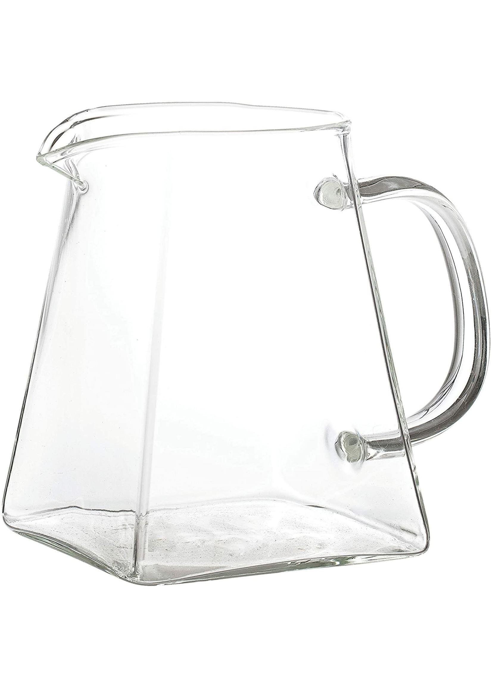 GLASS PITCHER W/ SQUARE BASE