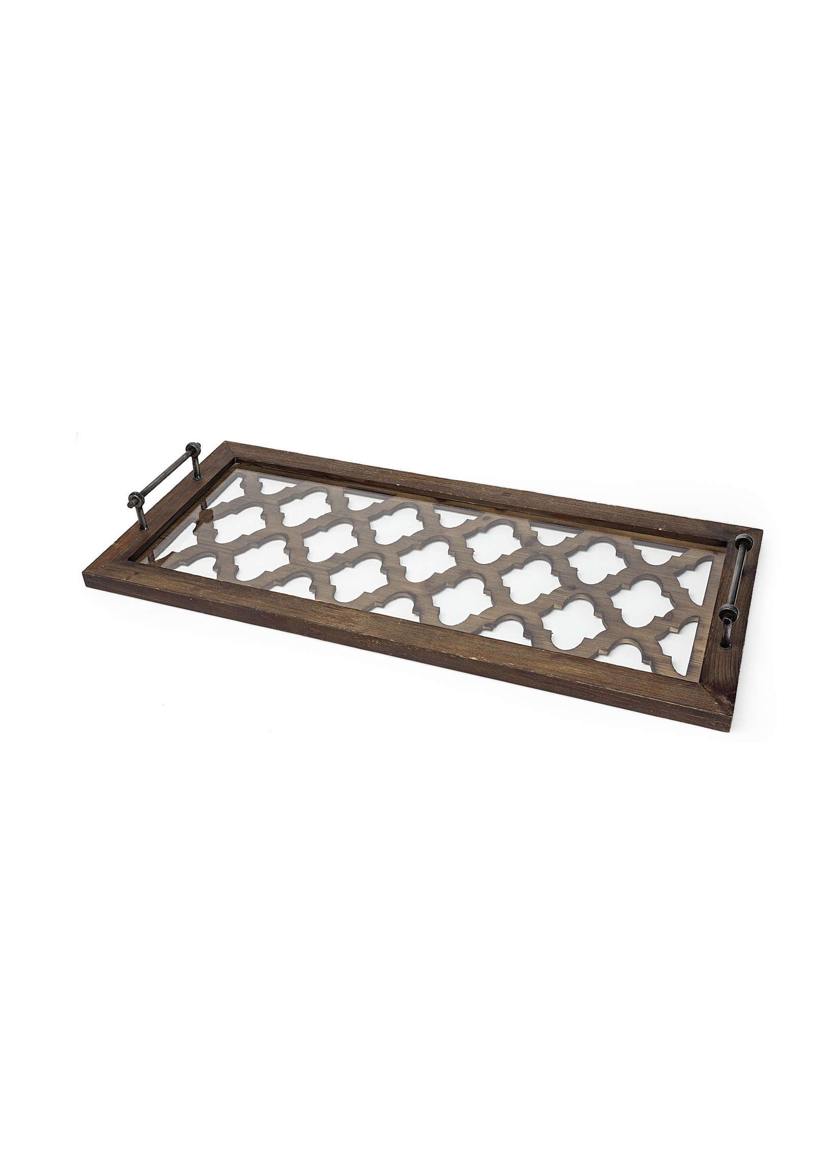 BROWN WOOD GLASS TOP RECT. SERVING TRAY 35x16