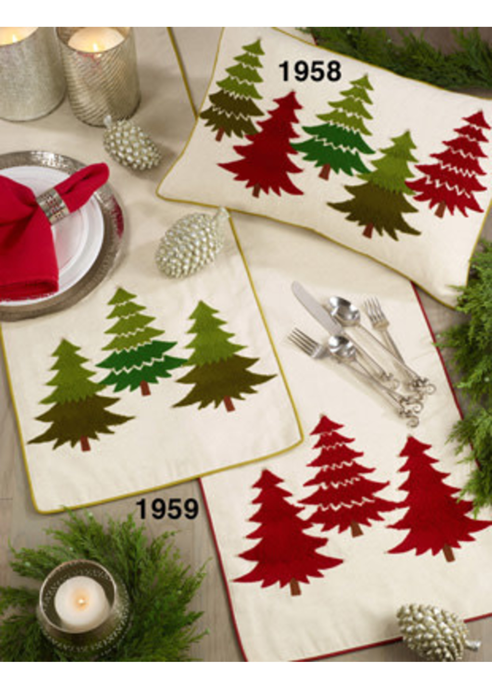 EMBROIDERED CHIRSTMAS TREE RUNNER