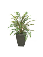 3' LEATHER FERN IN SQUARE METAL CONTAINER