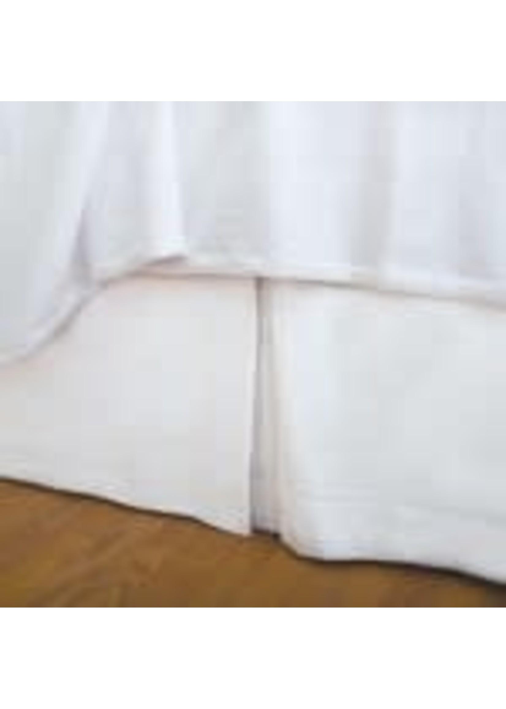QUEEN, HEMSTITCH WHITE BEDSKIRT