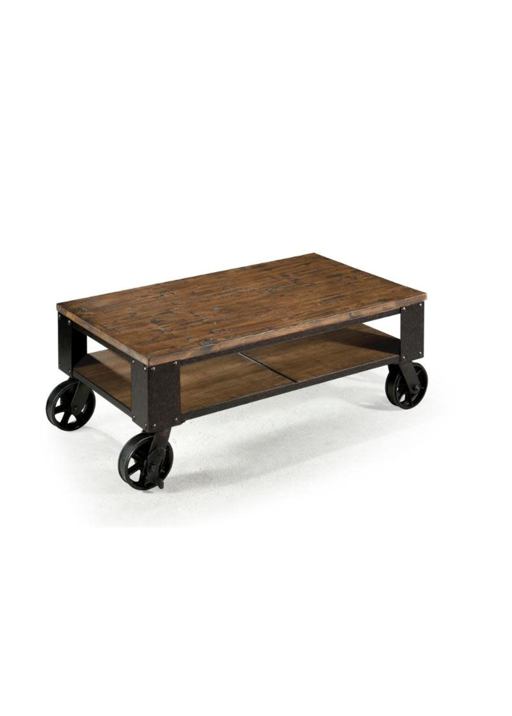 PINEBROOK WOOD RECTANGULAR COCKTAIL TABLE W/ CASTERS