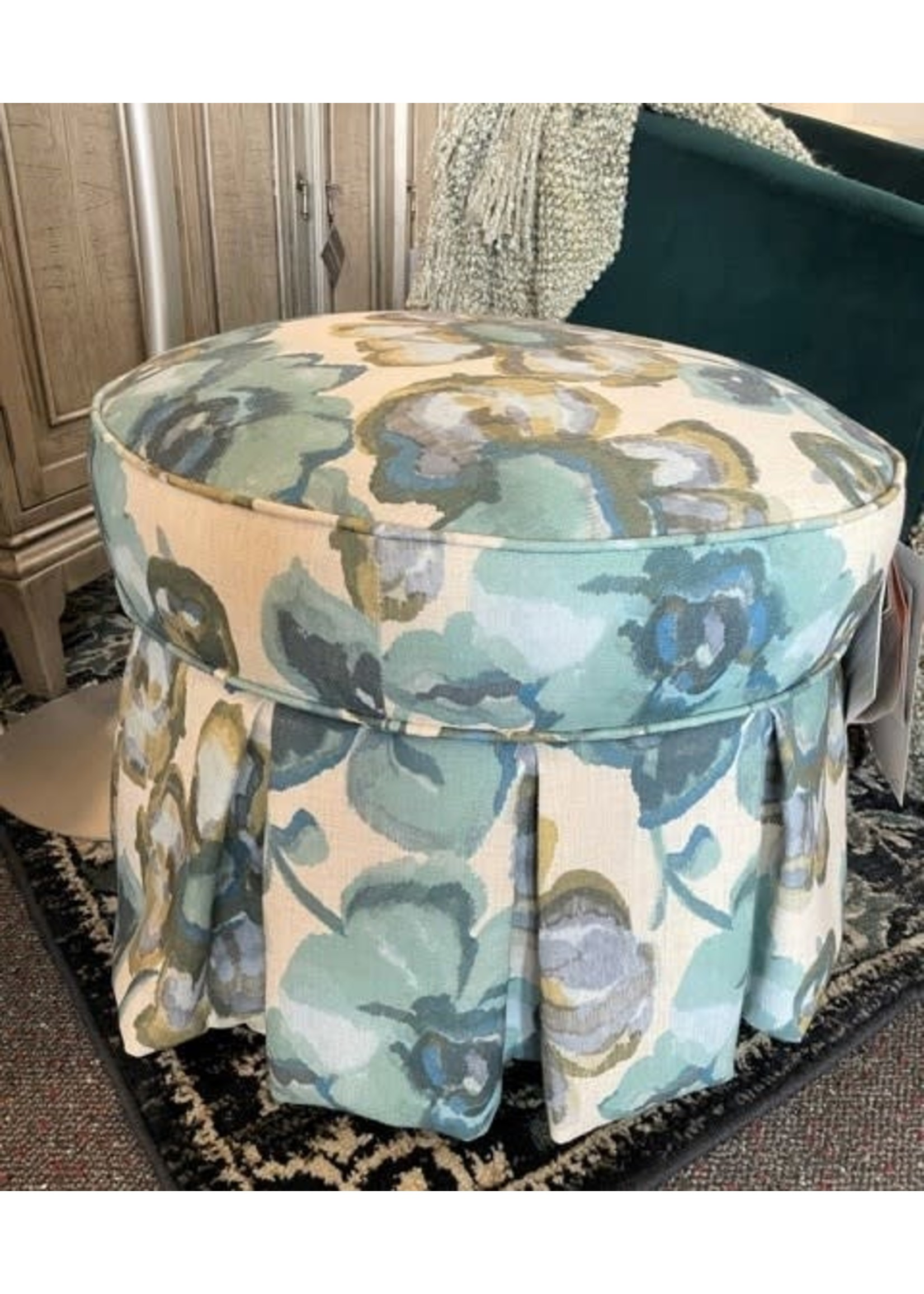 FLORAL SKIRTED ROUND OTTOMAN