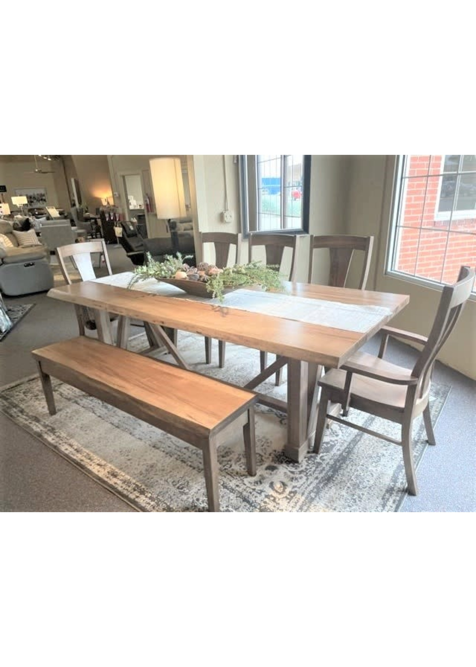 """90"""" RECTANGULAR TABLE W/ BENCH 3 SIDE CHAIR & 2 ARM CHAIR"""