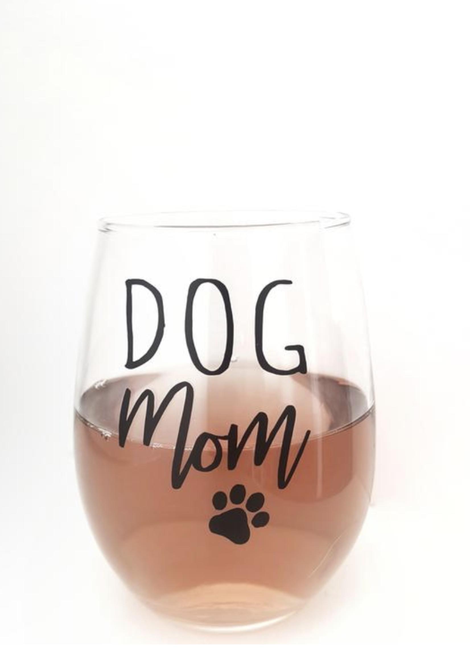 Jemdesigns Stemless Wine Glass   Dog Mom