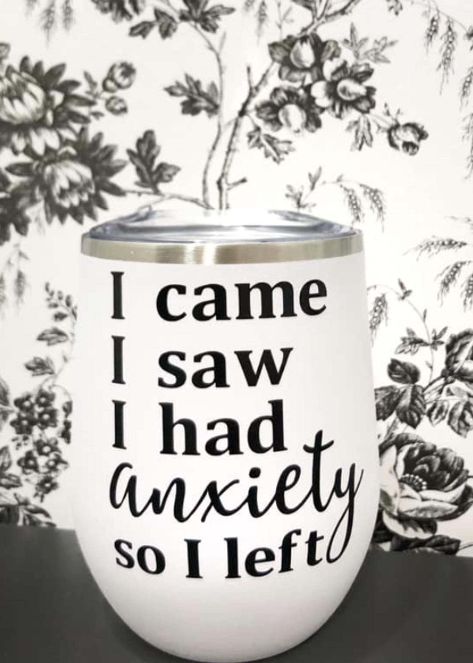 Jemdesigns Stemless Tumbler   Anxiety   White