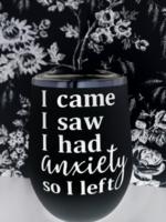 Jemdesigns Stemless Tumbler   Anxiety   Black