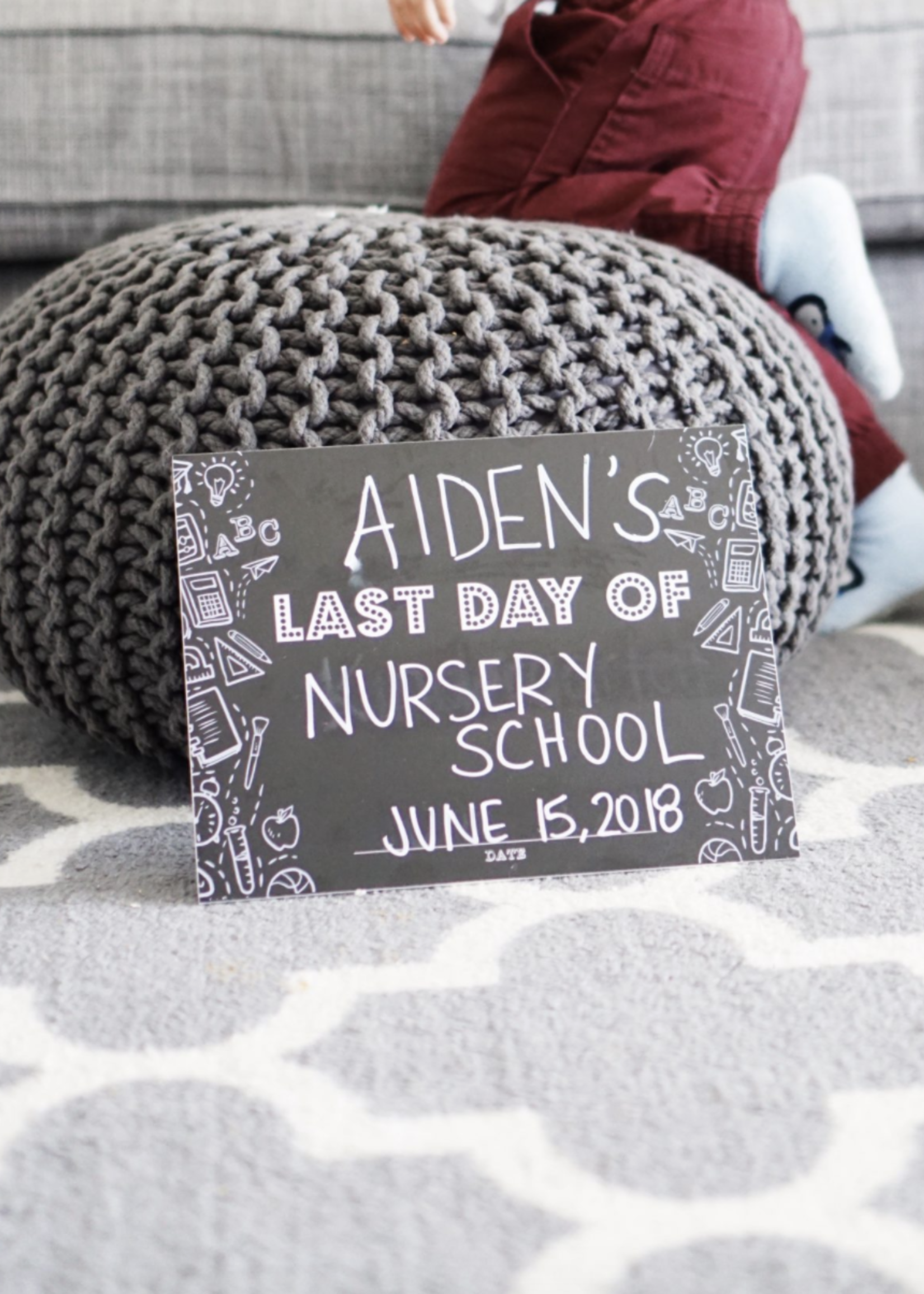 Love Designs Simple First & Last Day Sign | Monochrome