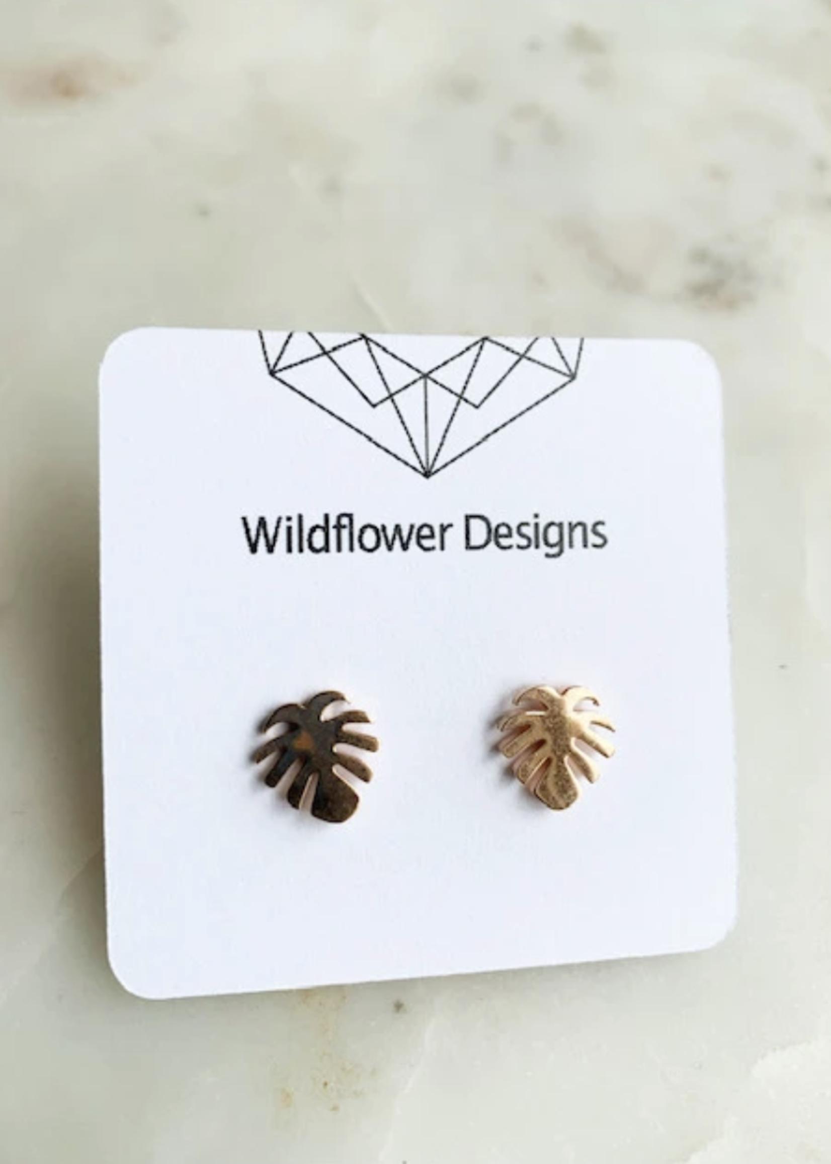 Wildflower Designs Mini Monstera Earrings
