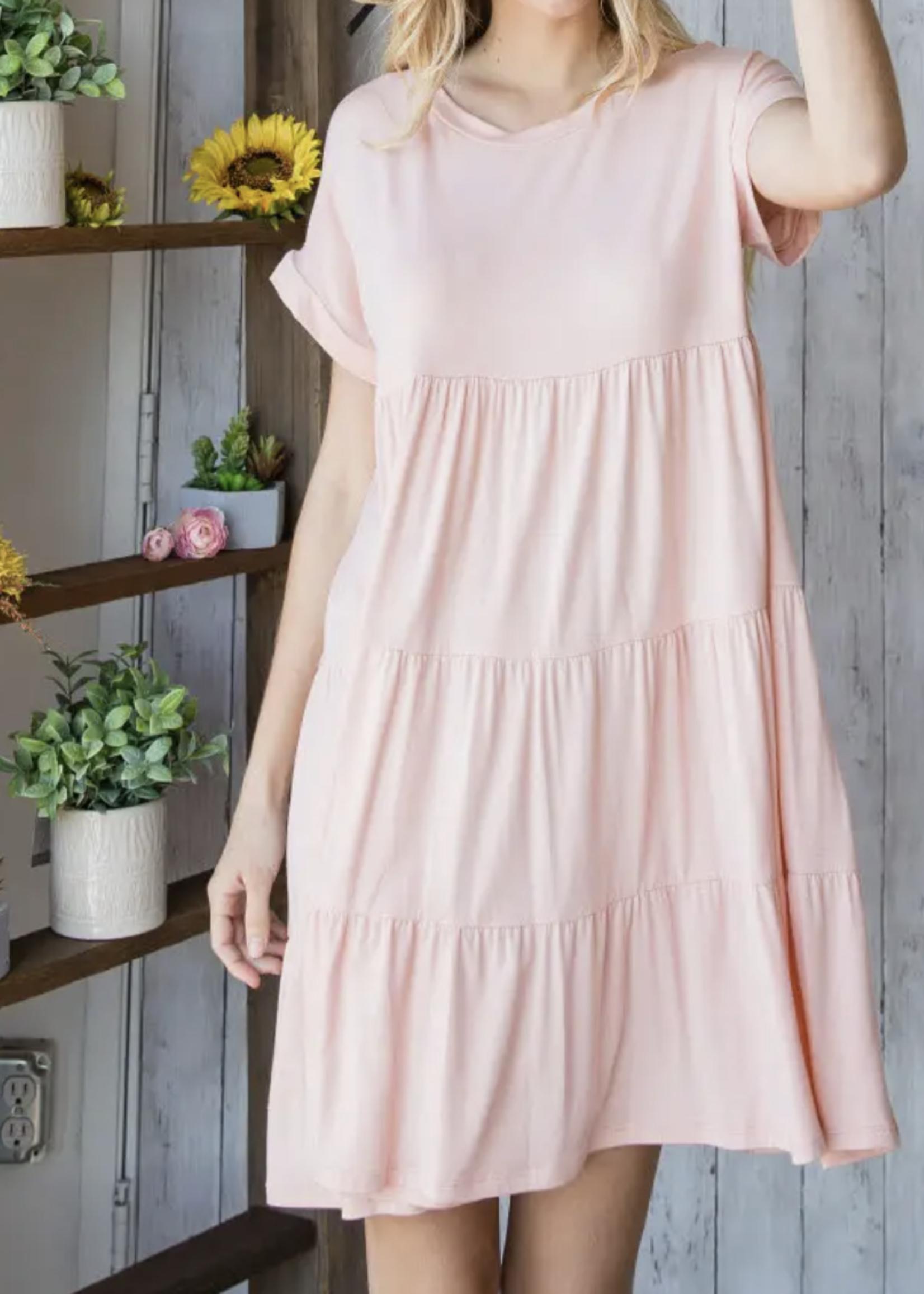 Tiered Mini Dress   Pink