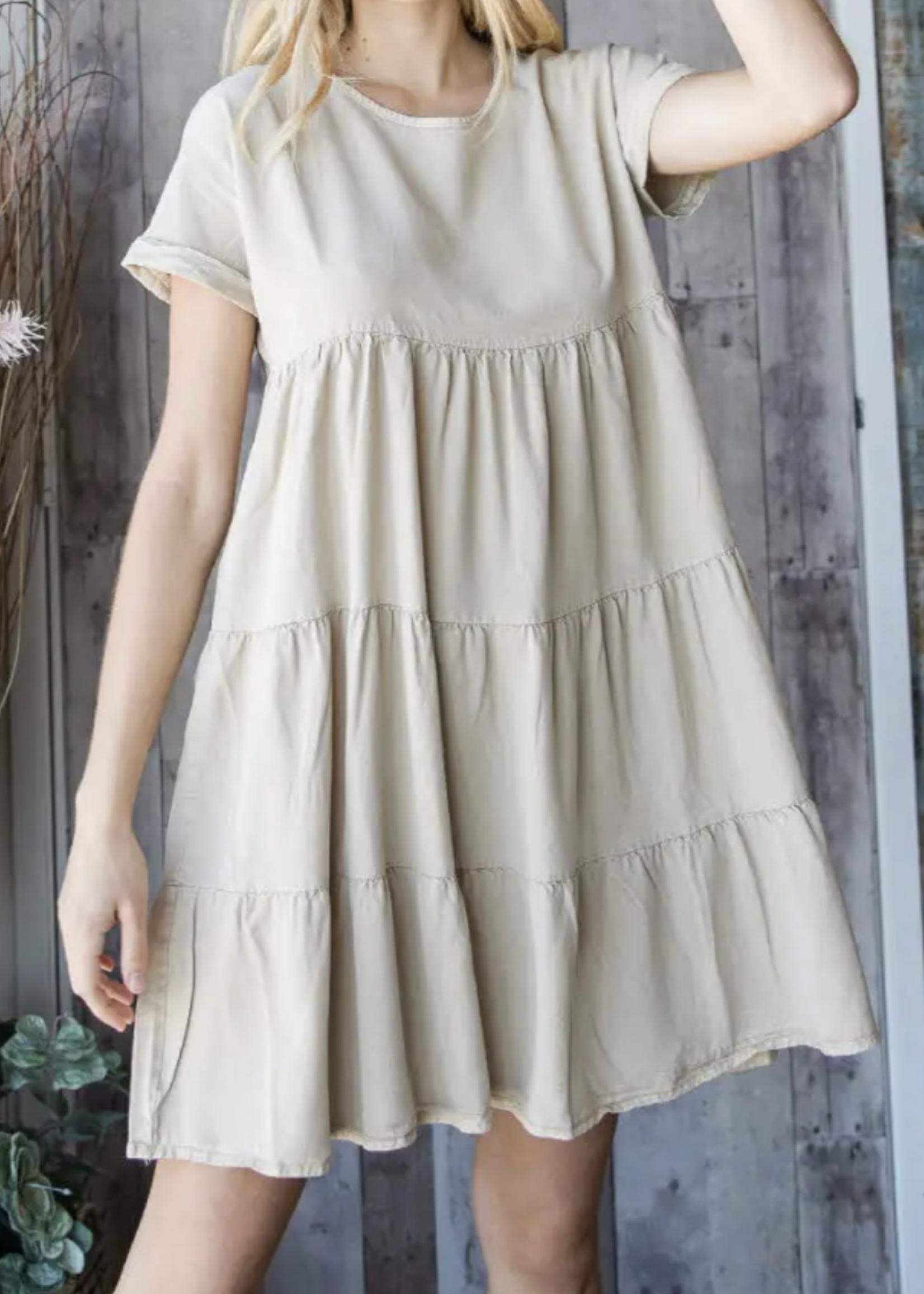 Tencel Mini Dress | Taupe